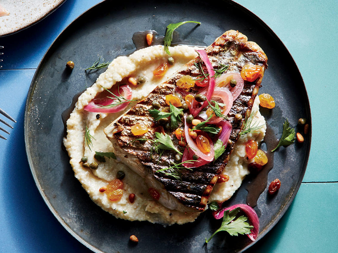 Pan-Grilled Mackerel with Creamy Millet Puree