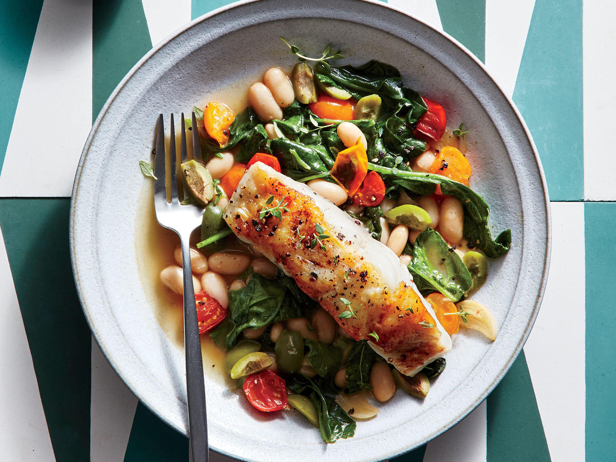 Seared Sea Bass with Lemon-Olive White Beans Recipe ...