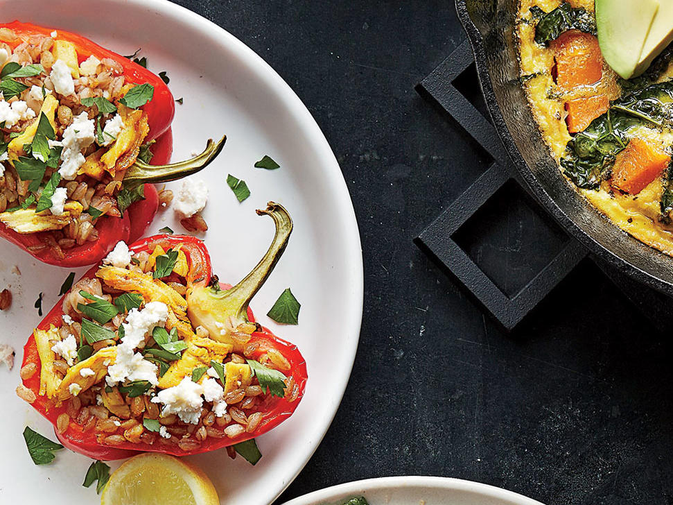 Turmeric Chicken–Stuffed Peppers