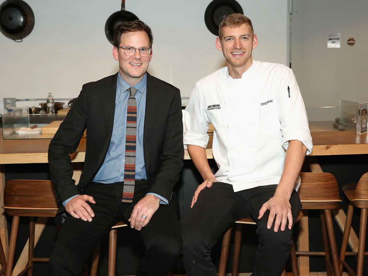 Cooking Light Editor-in-Chief, Hunter Lewis (L) and Culinary Development Chef for Chobani, Jake Briere (R)