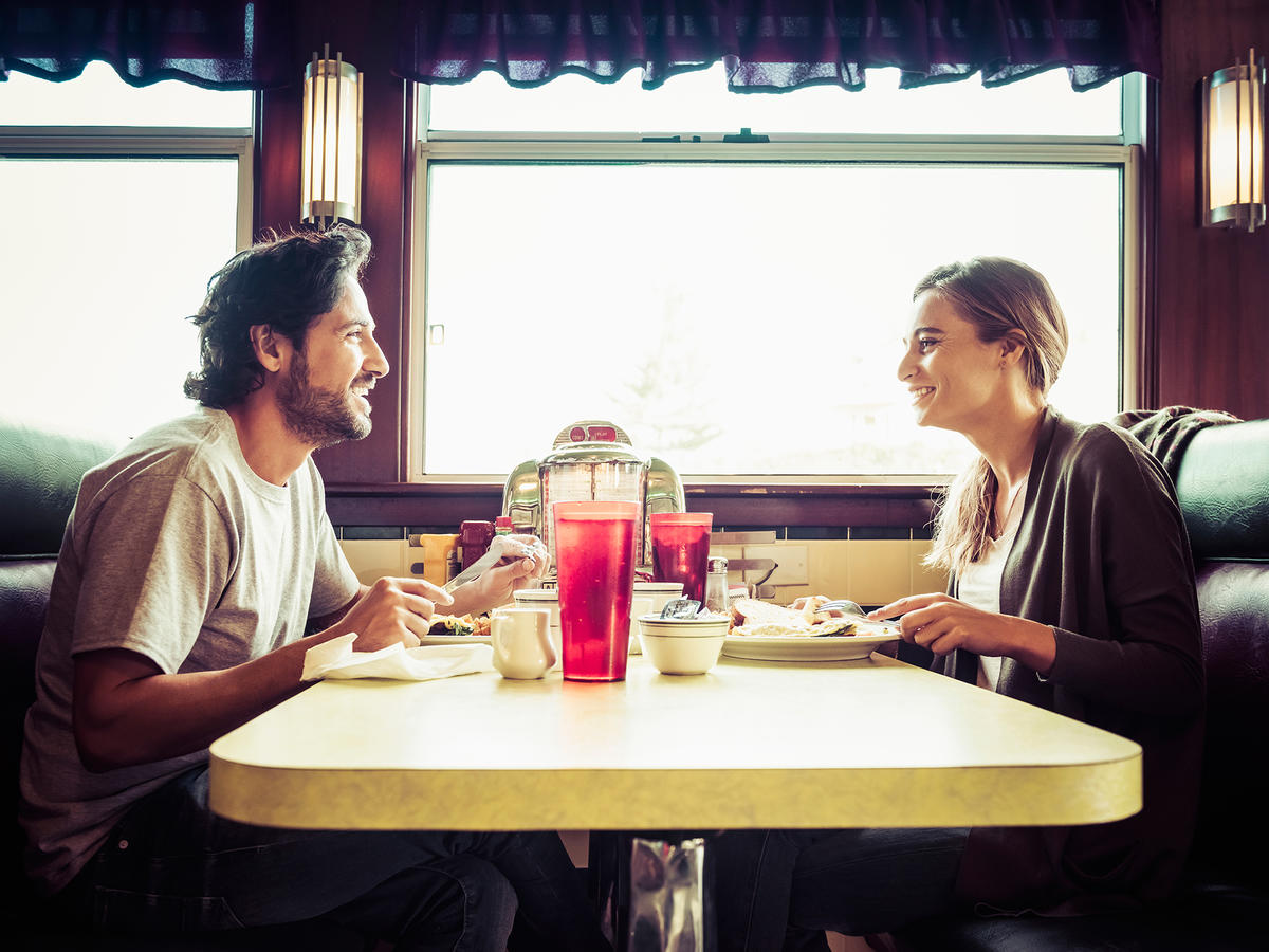 Couple Eating at Diner