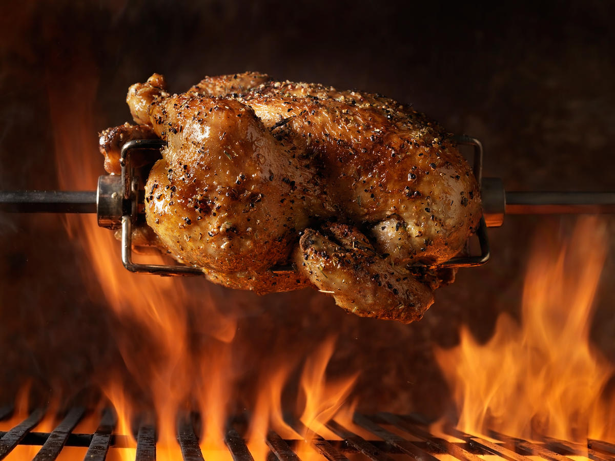 Rotisserie Chicken on Spit