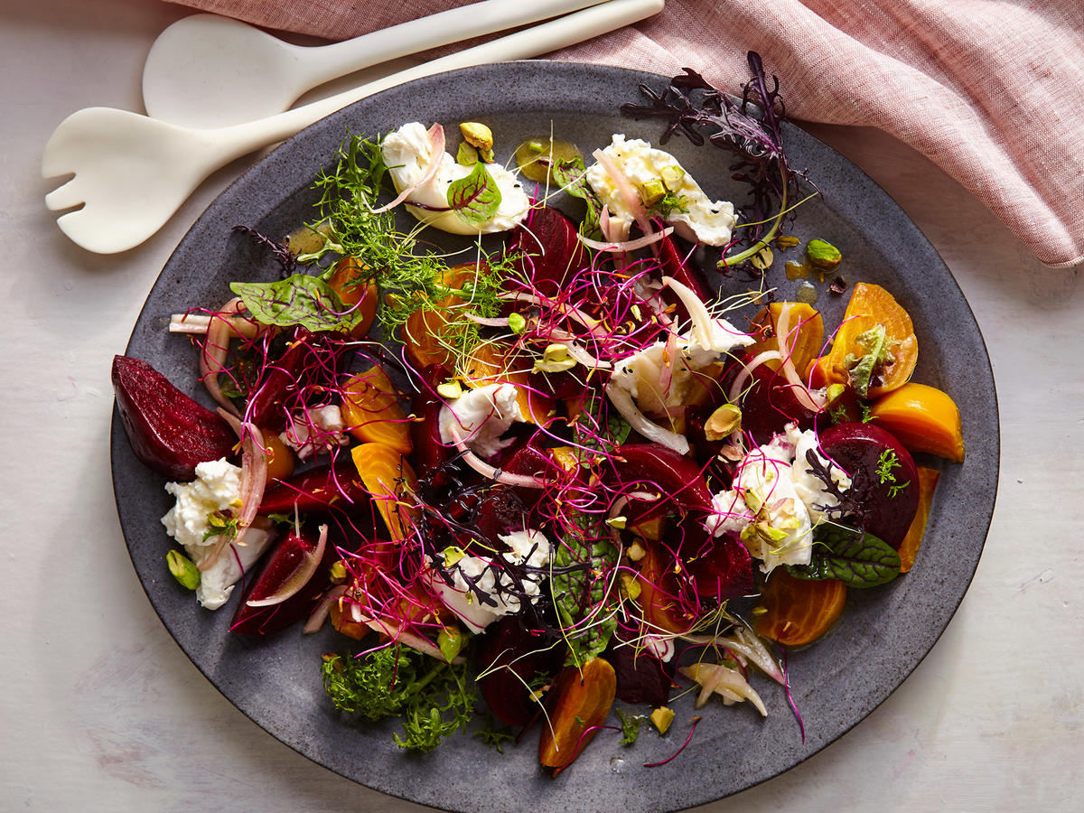 Beet and Burrata Salad with Pistachio Vinaigrette