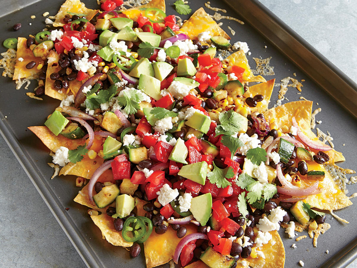 two-cheese veggie nachos