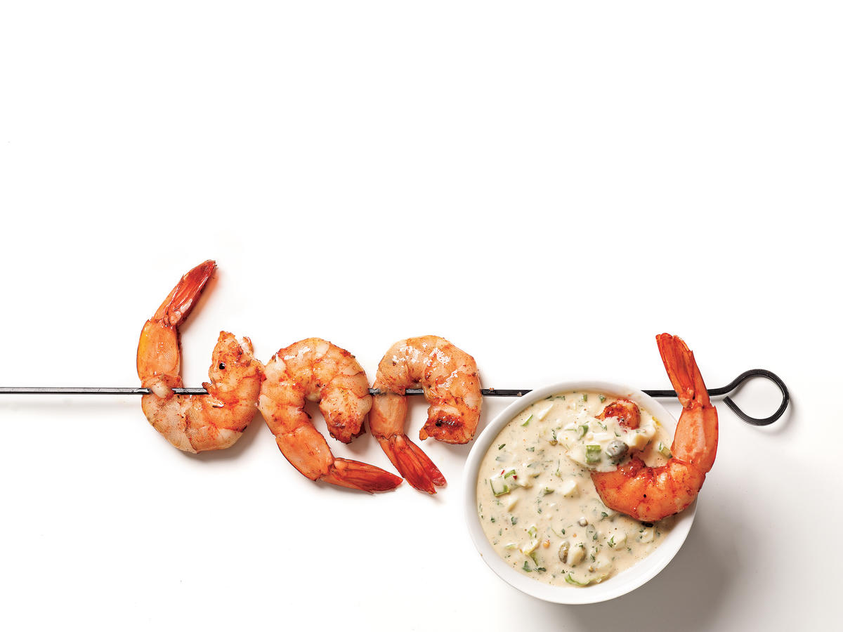 Cajun-Spiced Smoked Shrimp with Rémoulade