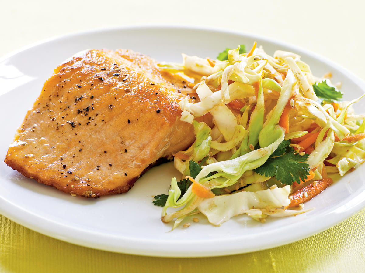 Crispy Skin Salmon with Fiery Asian Slaw Recipe
