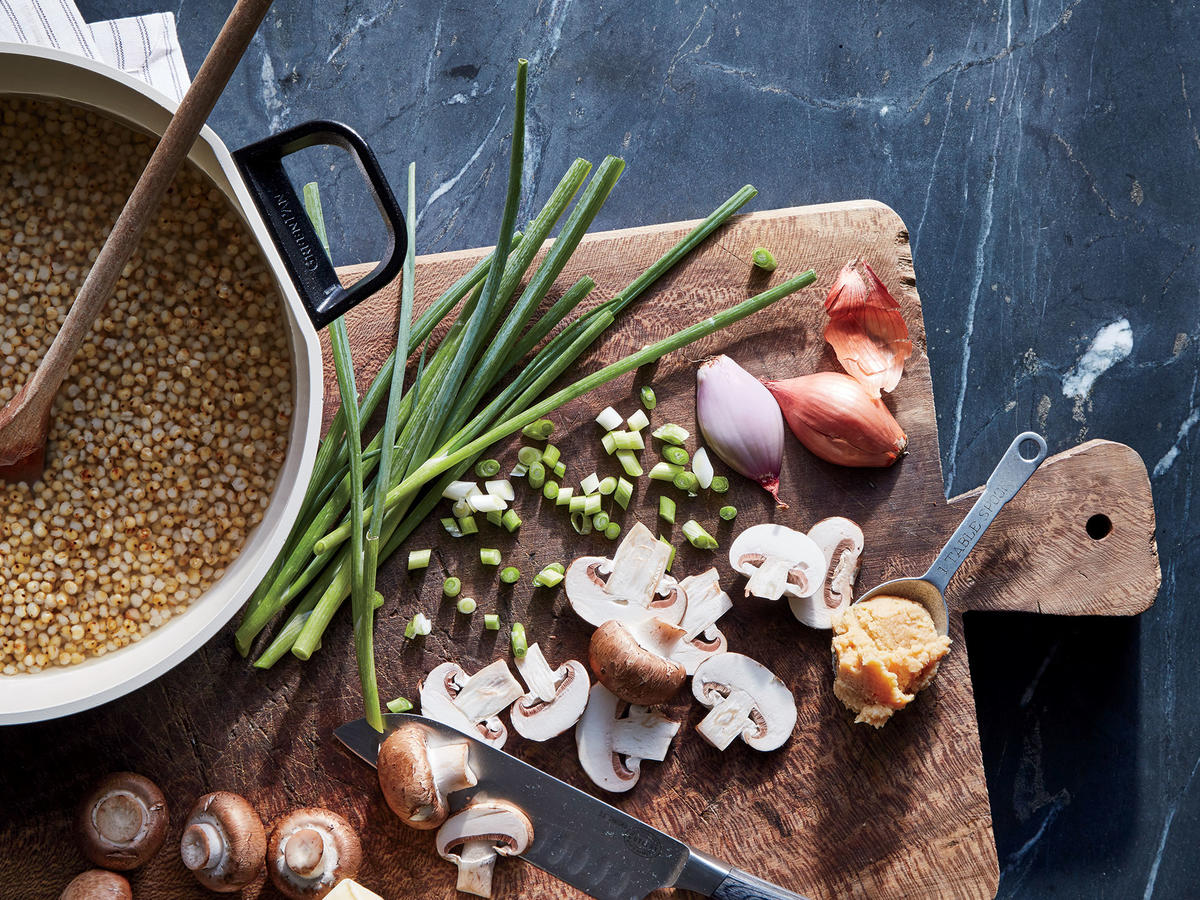 Sorghum with Mushroom and Miso Prep