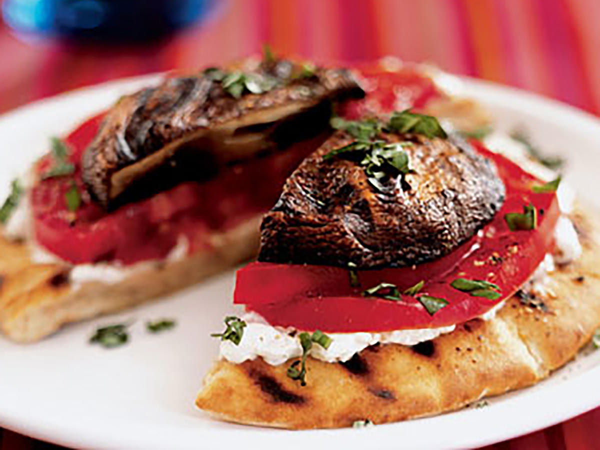 Grilled Portobello-Goat Cheese Pitas Makeover