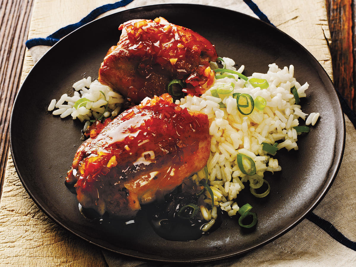 Ginger-Soy Chicken Thighs with Scallion Rice Recipe