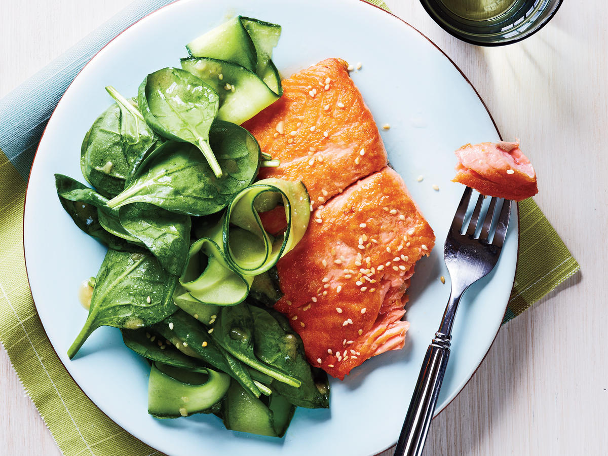 Salmon with Spinach Salad and Miso Vinaigrette