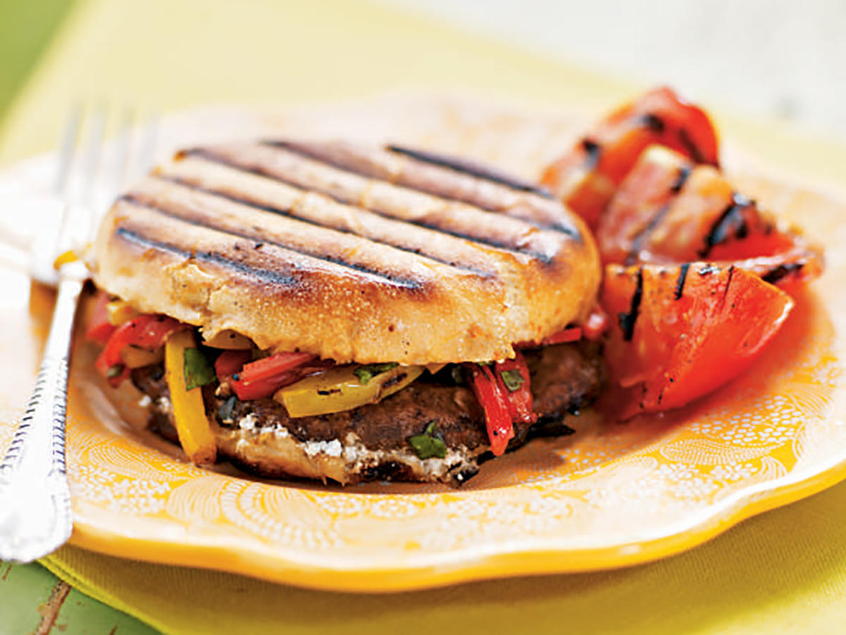 Grilled Portobello, Bell Pepper, and Goat Cheese Sandwiches Makeover