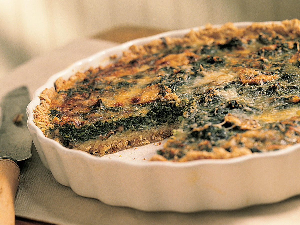 Healthy Mushroom-and-Spinach Quiche in an Oat Crust Recipes