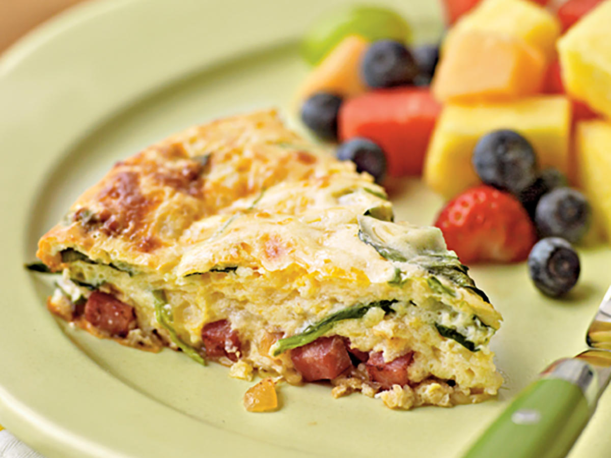 Healthy Crustless Smoked Turkey and Spinach Quiche Recipe