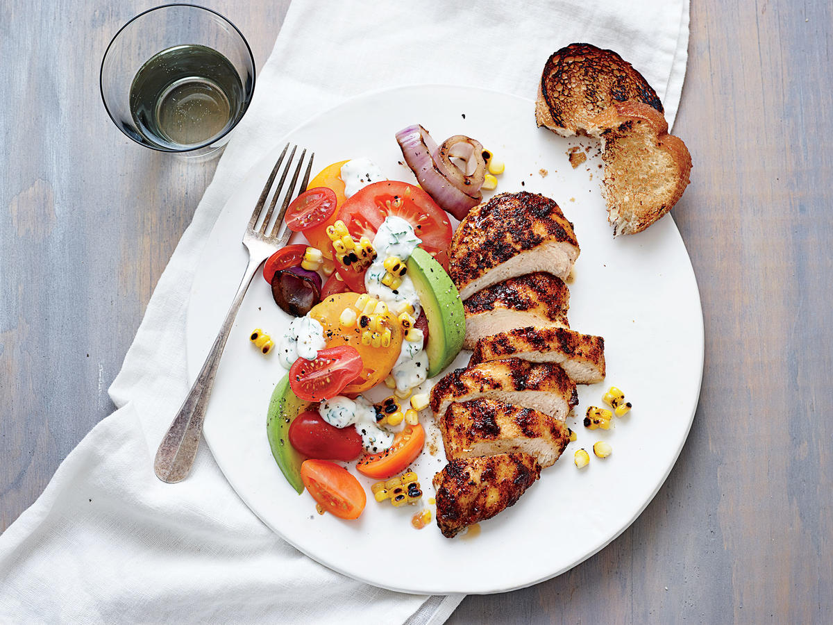 Grilled Chicken with Tomato-Avocado Salad
