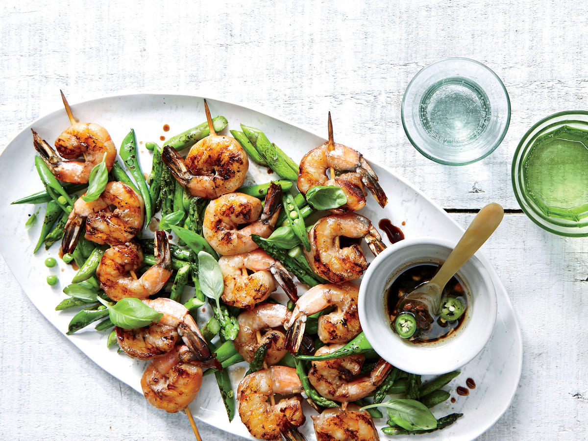 grilled shrimp skewers charred asparagus