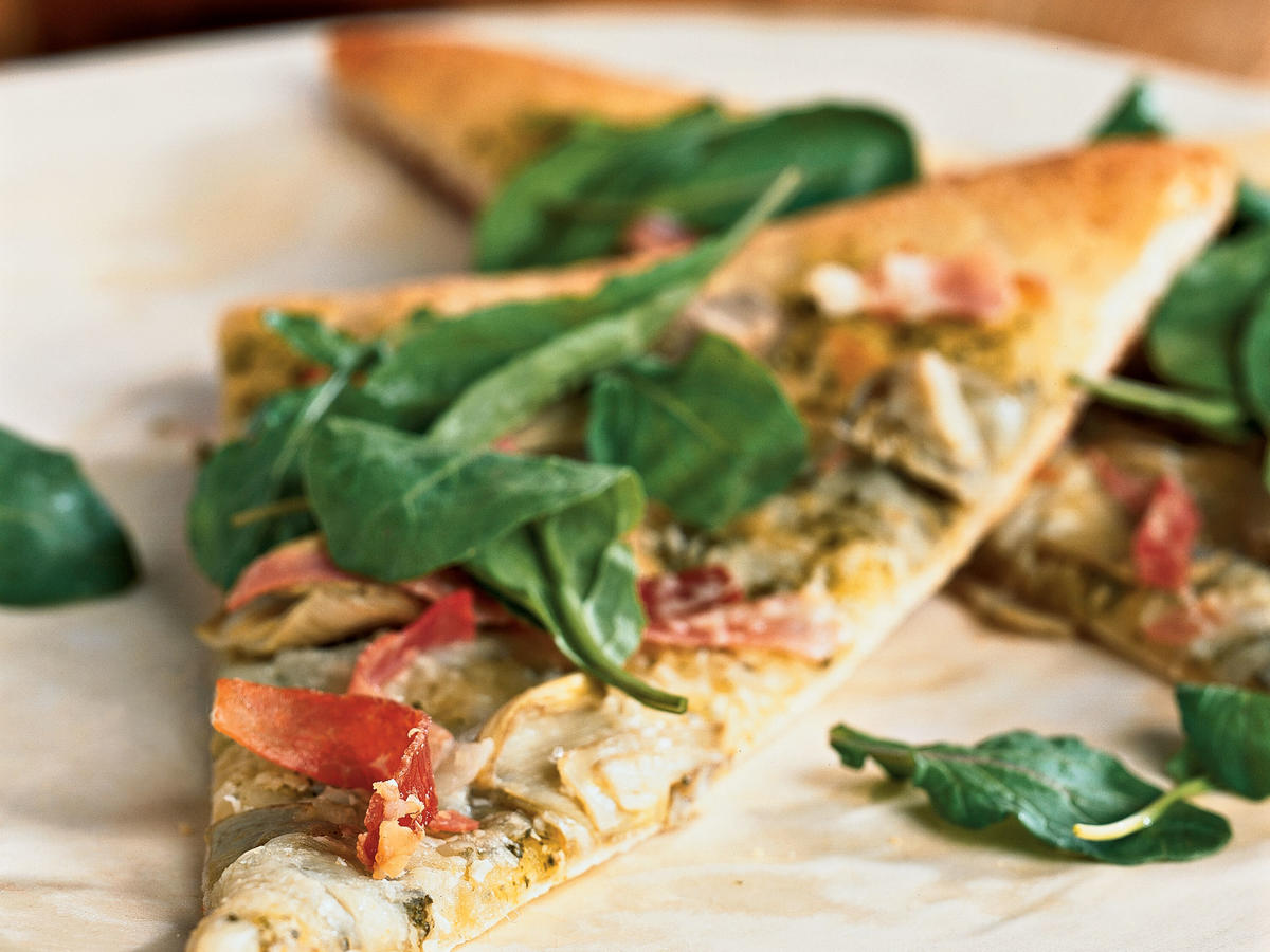 Artichoke and Arugula Pizza with Prosciutto
