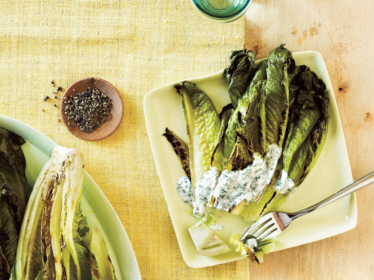 Grilled Romaine with Creamy Herb Dressing