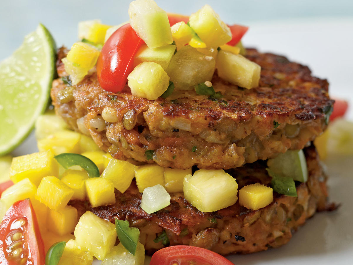 Lentil-Barley Burgers with Fiery Fruit Salsa Recipes