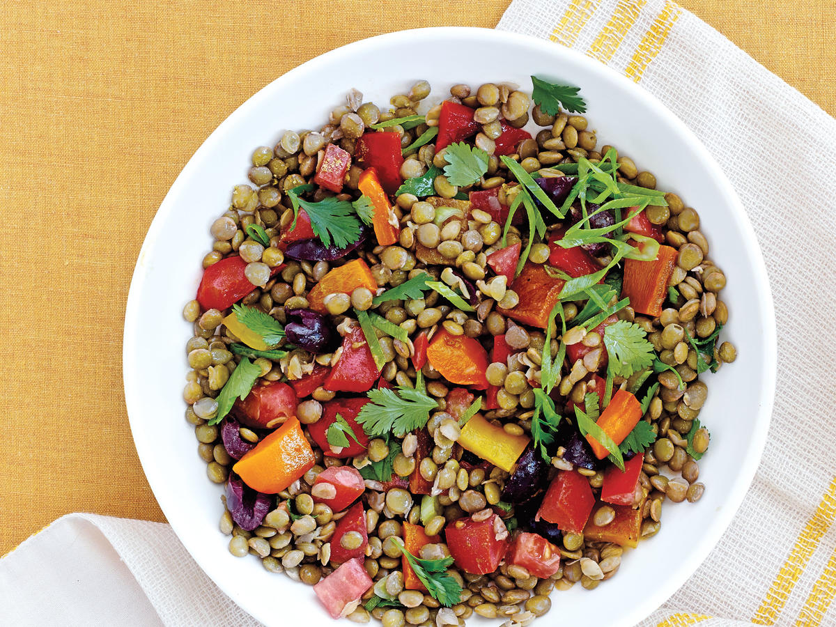 Grilled Peppers and Lentil Salad