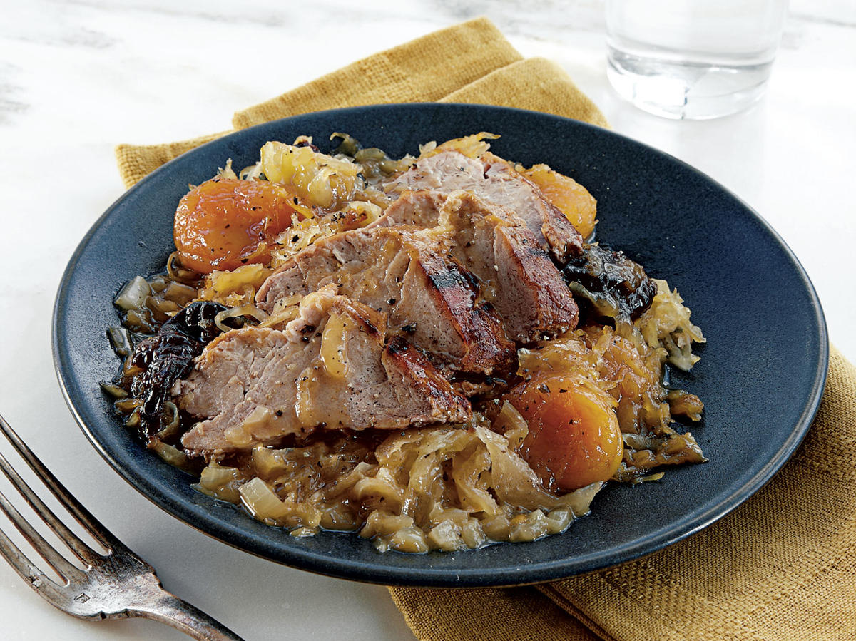 Pork with Apricots, Dried Plums, and Sauerkraut