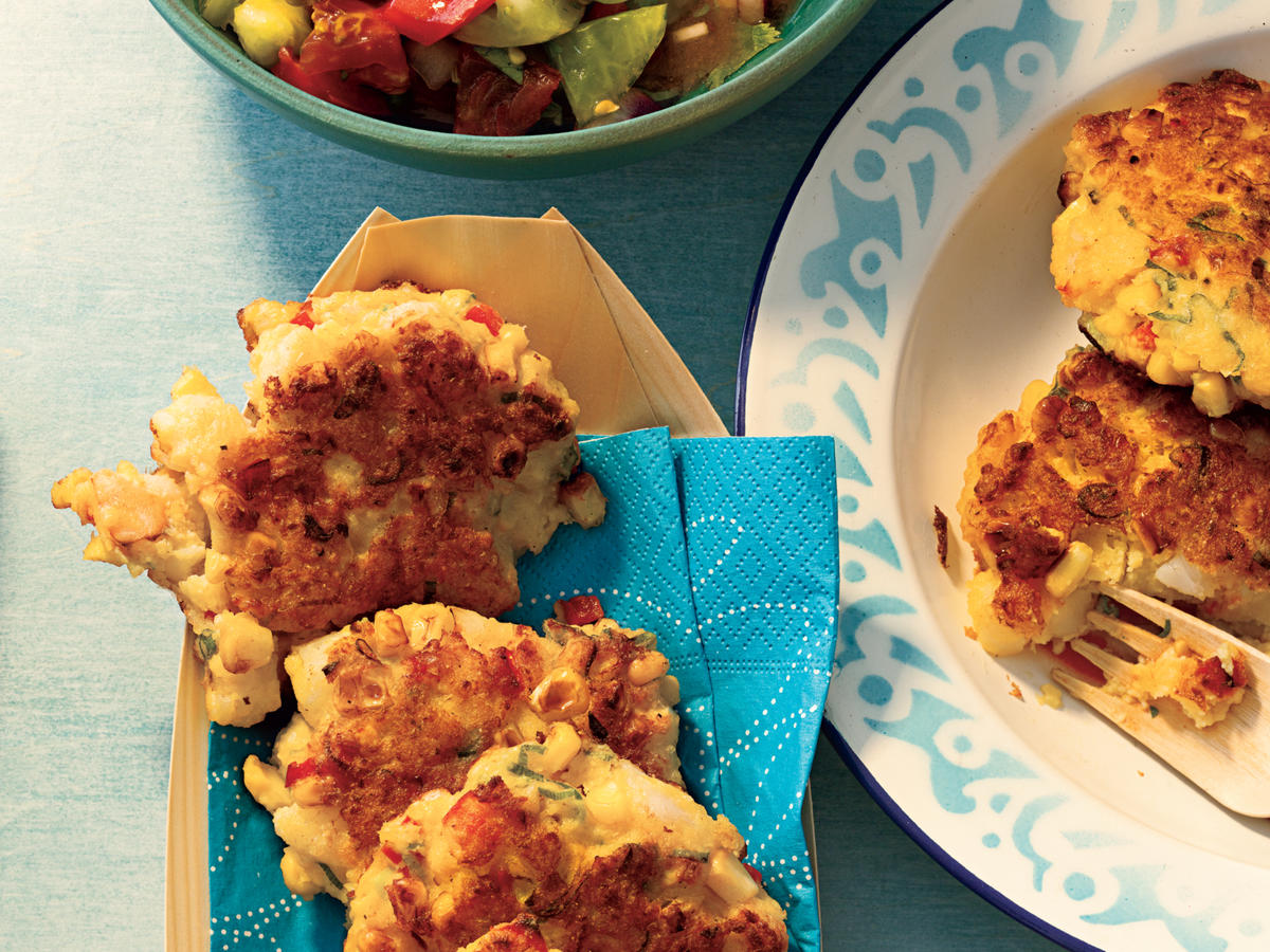 Shrimp and Corn Cakes with Heirloom Tomato Salsa