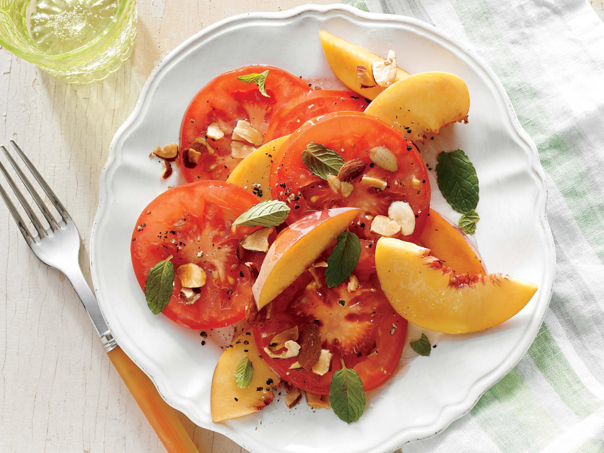 Tomato and Peach Salad with Almonds