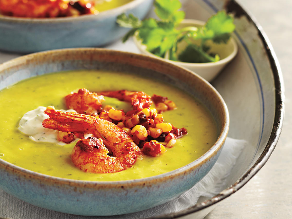 Chilled Avocado Soup with Seared Chipotle Shrimp Recipe