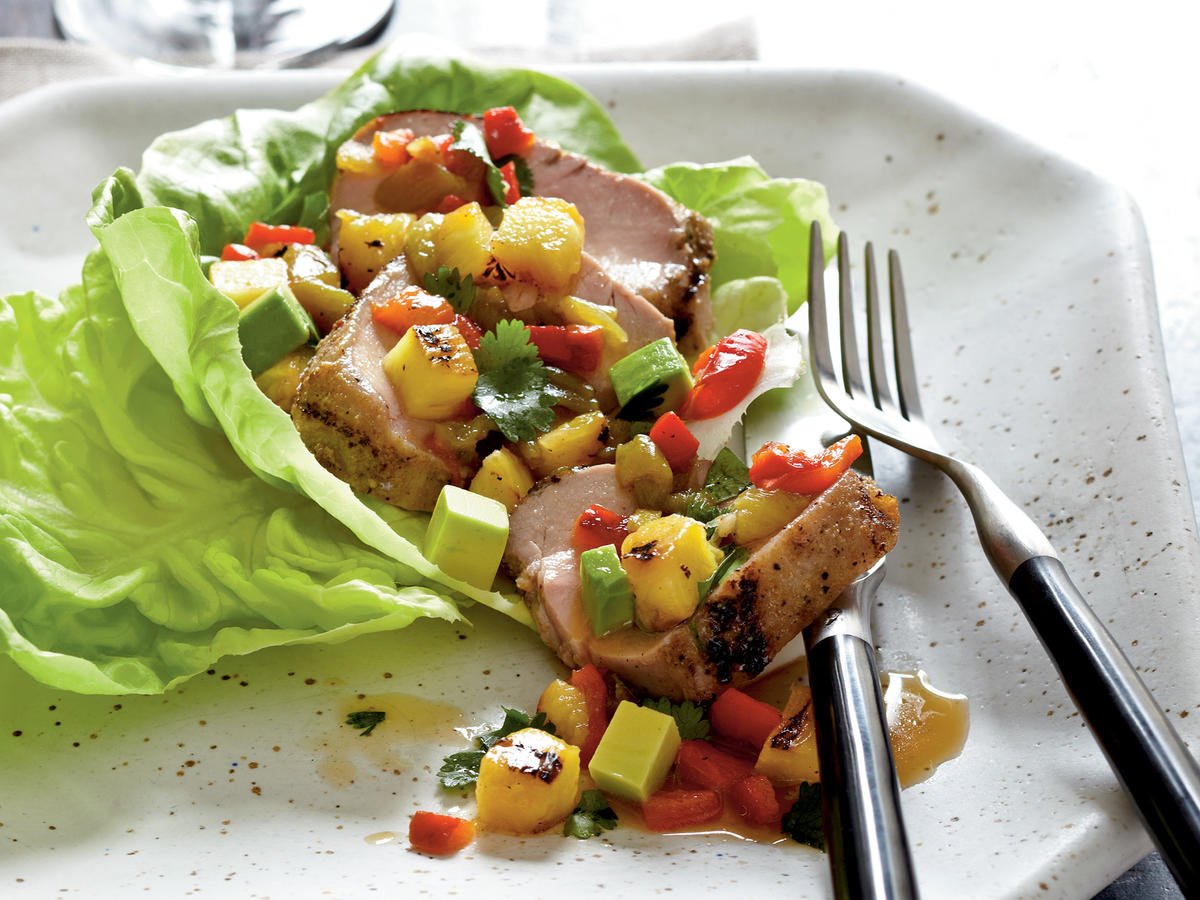 Quick and Healthy Pork, Pineapple, and Anaheim Chile Salad with Avocado Recipe