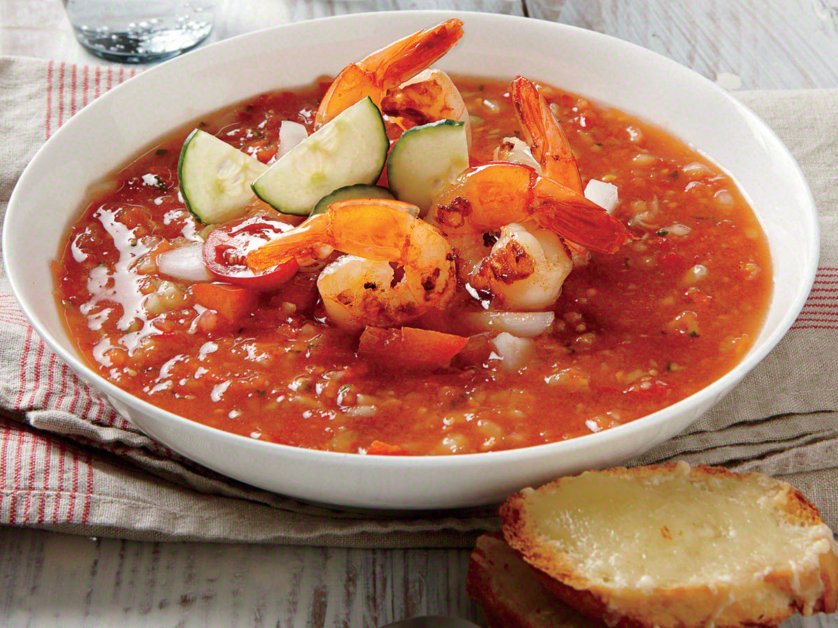 Gazpacho with Lemon-Garlic Shrimp