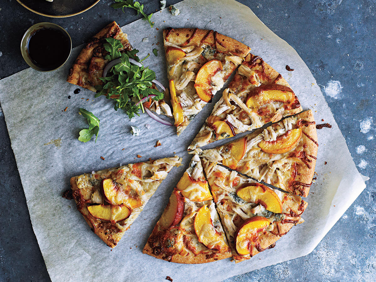 Healthy Peach and Gorgonzola Chicken Pizza Recipe