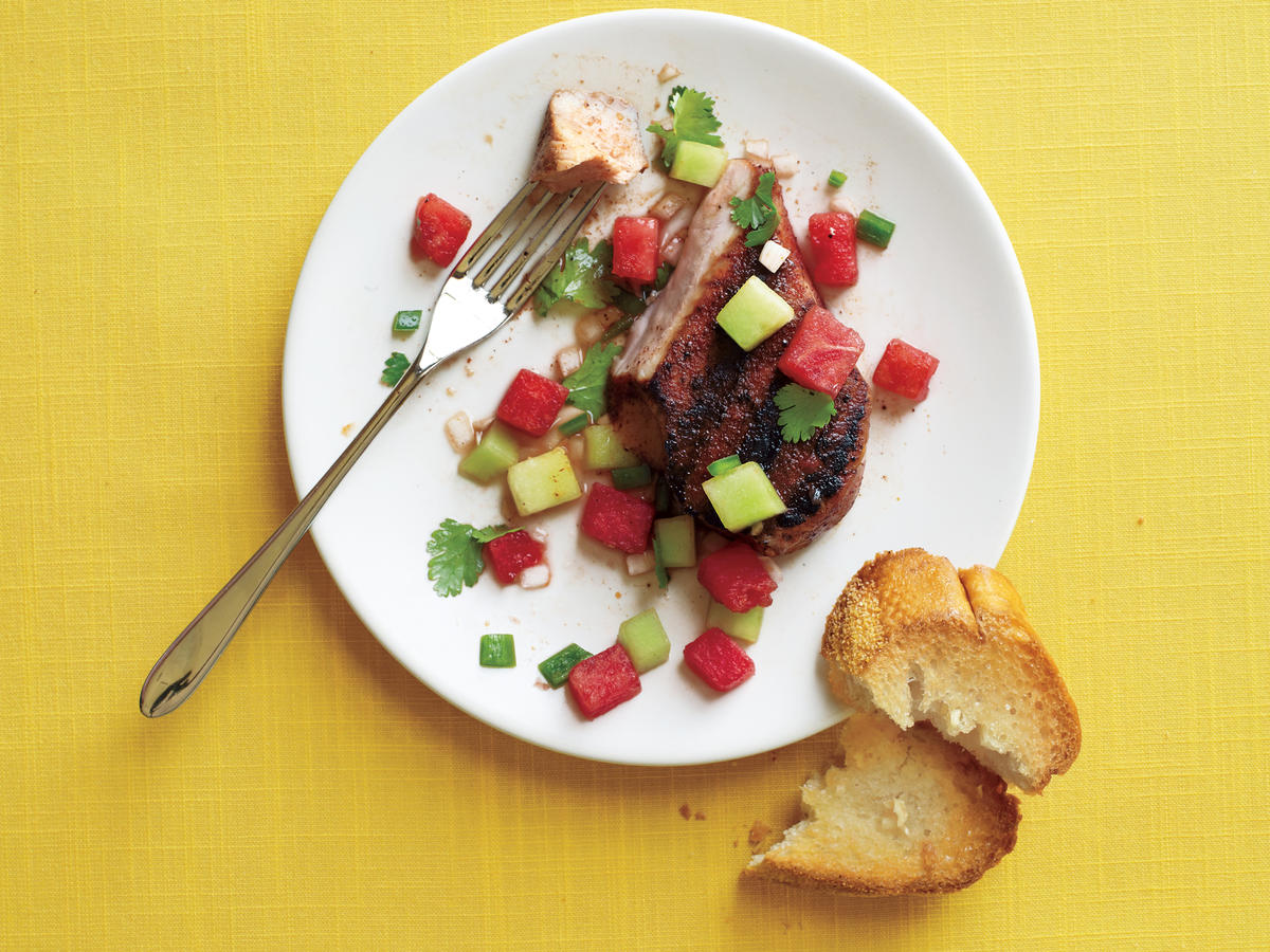 pork chops with melon salsa