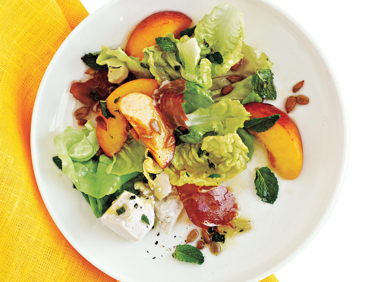 Healthy Prosciutto, Peach, and Sweet Lettuce Salad Recipe