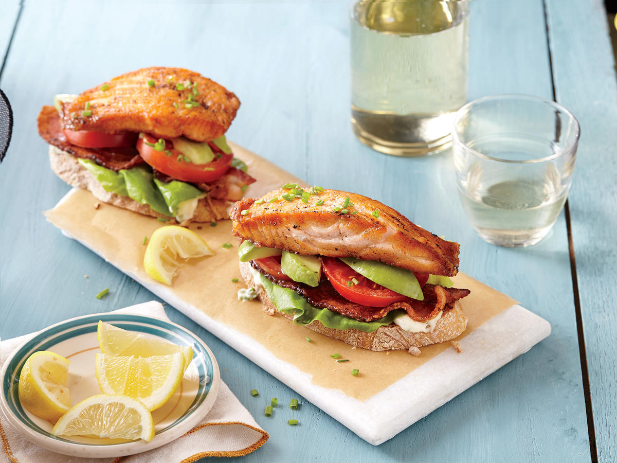 Open-Faced Salmon and Avocado BLTs
