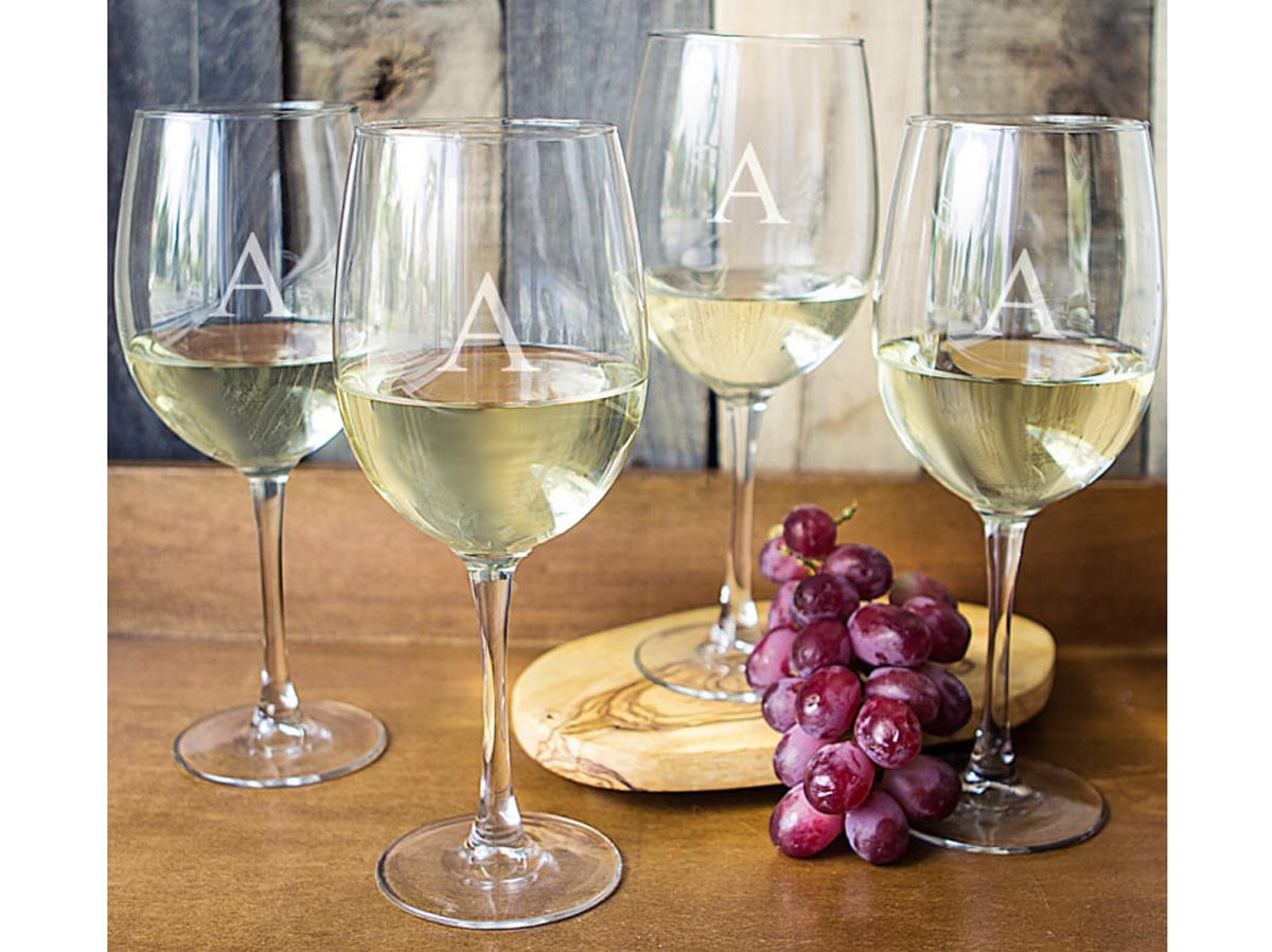 Cathy's Concepts Set of 4 Personalized Wine Glasses