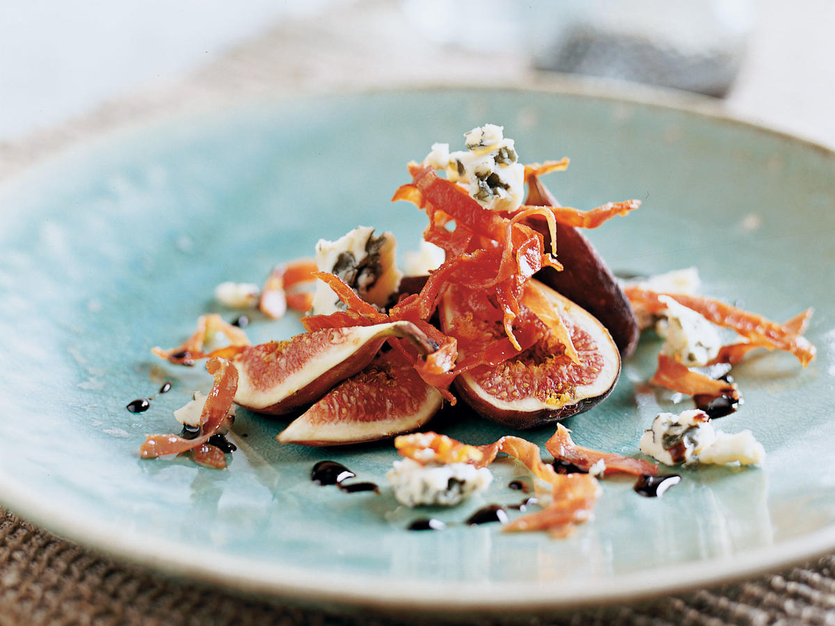 This colorful, elegant dish combines all the different flavors and textures—sweet, tender figs; salty, crisp prosciutto; tangy, creamy cheese; and brightly sour balsamic vinegar—that are necessary for a perfect summer starter.