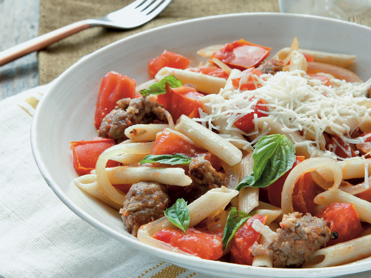 Fresh Tomato, Sausage, and Pecorino Pasta