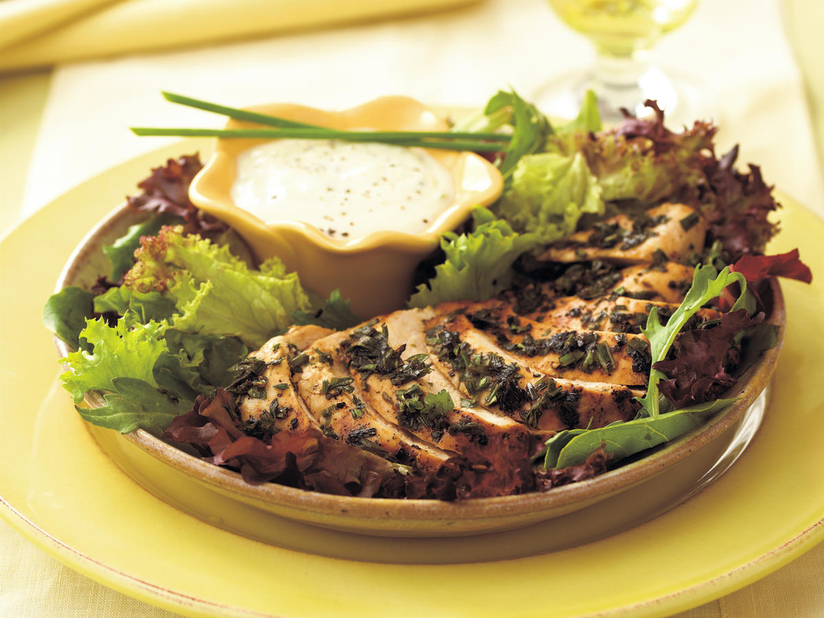 Grilled Herb-Coated Chicken Breasts