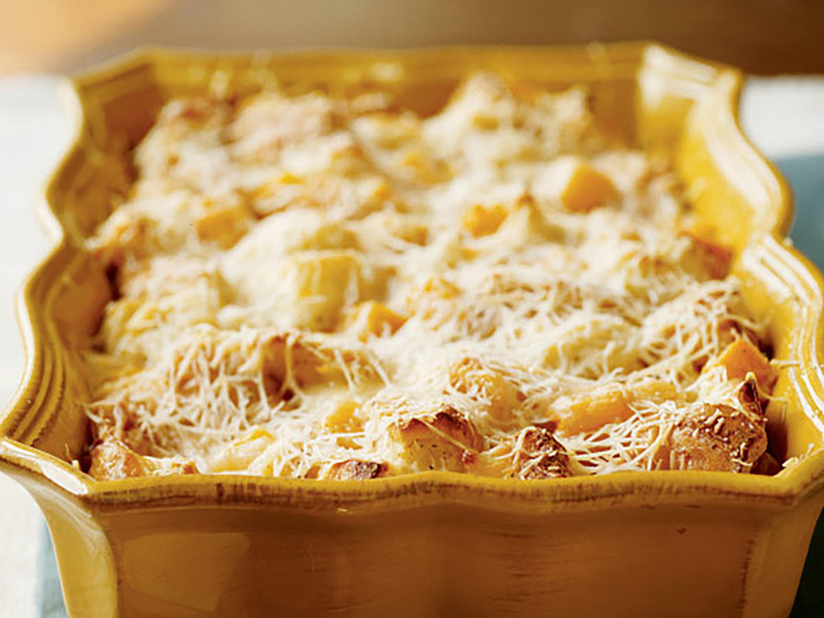 1111 Butternut Squash and Parmesan Bread Pudding