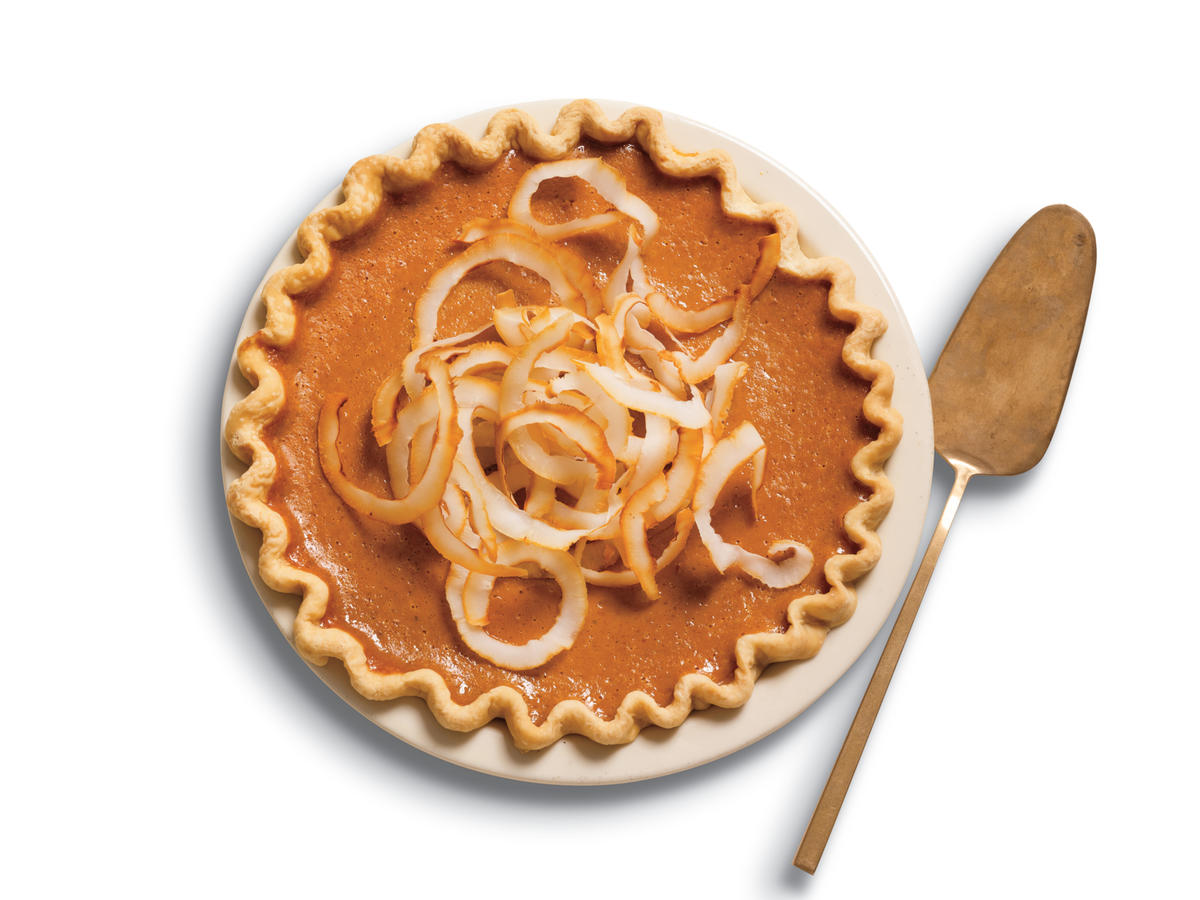 Ginger Pumpkin Pie With Toasted Coconut