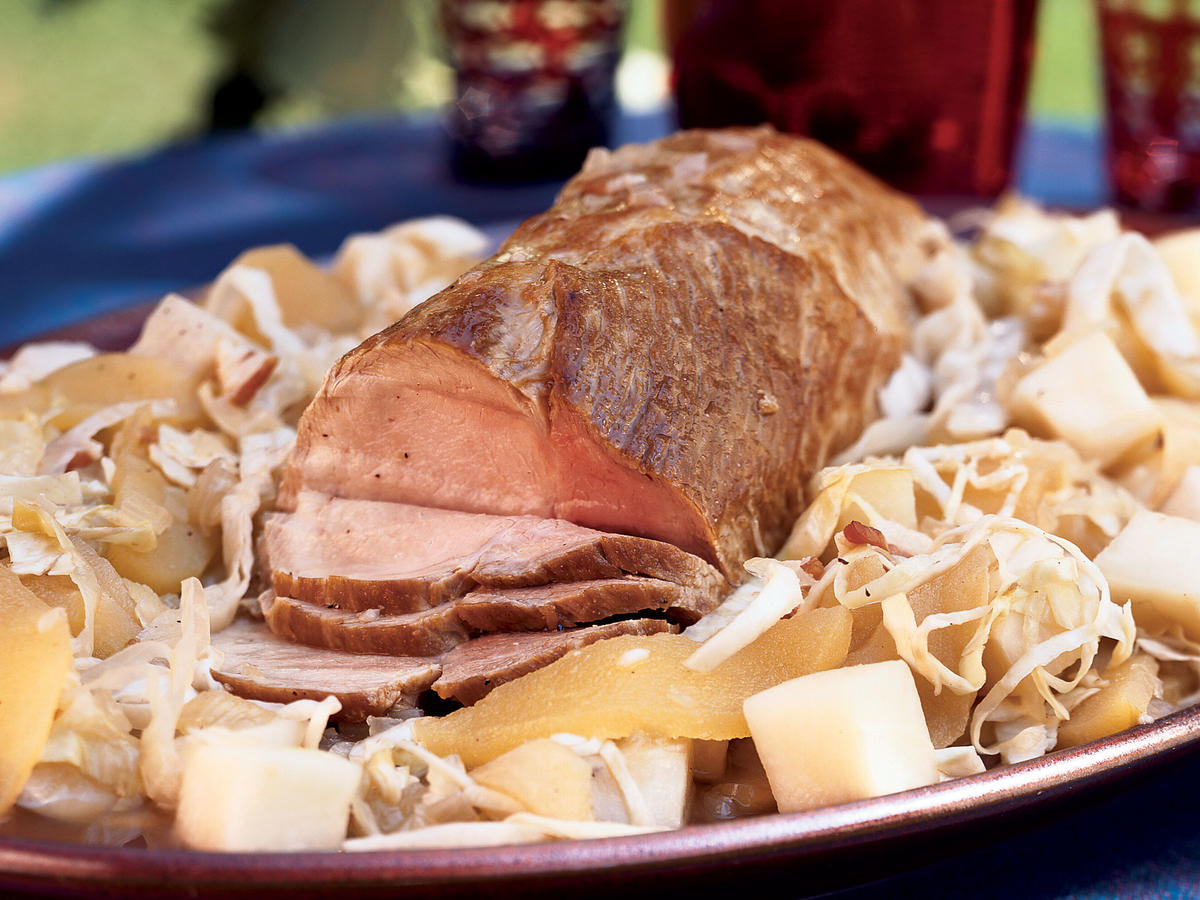 Roast Pork With Apples, Cabbage, and Turnips
