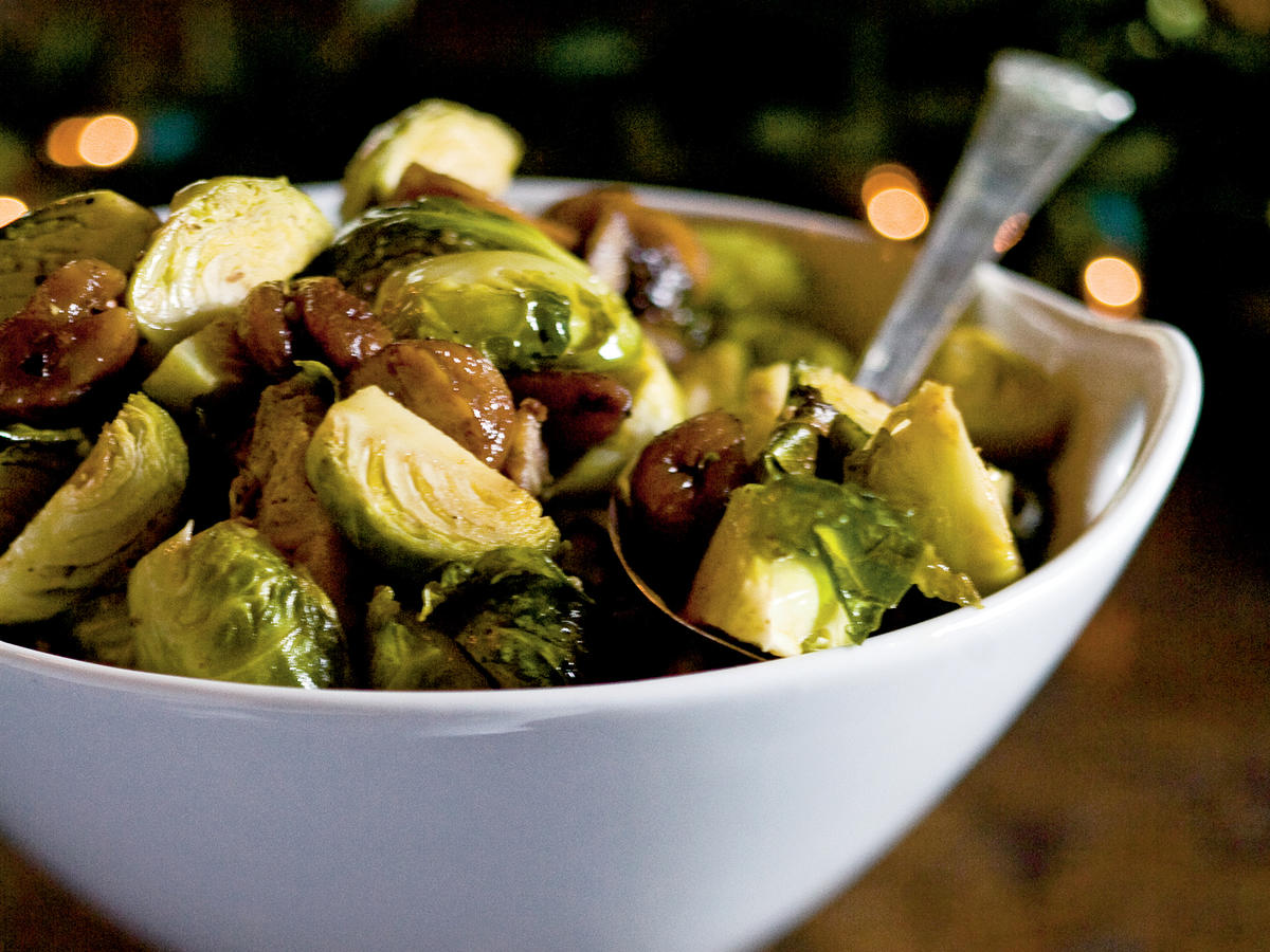 Roasted Brussels Sprouts with Chestnuts