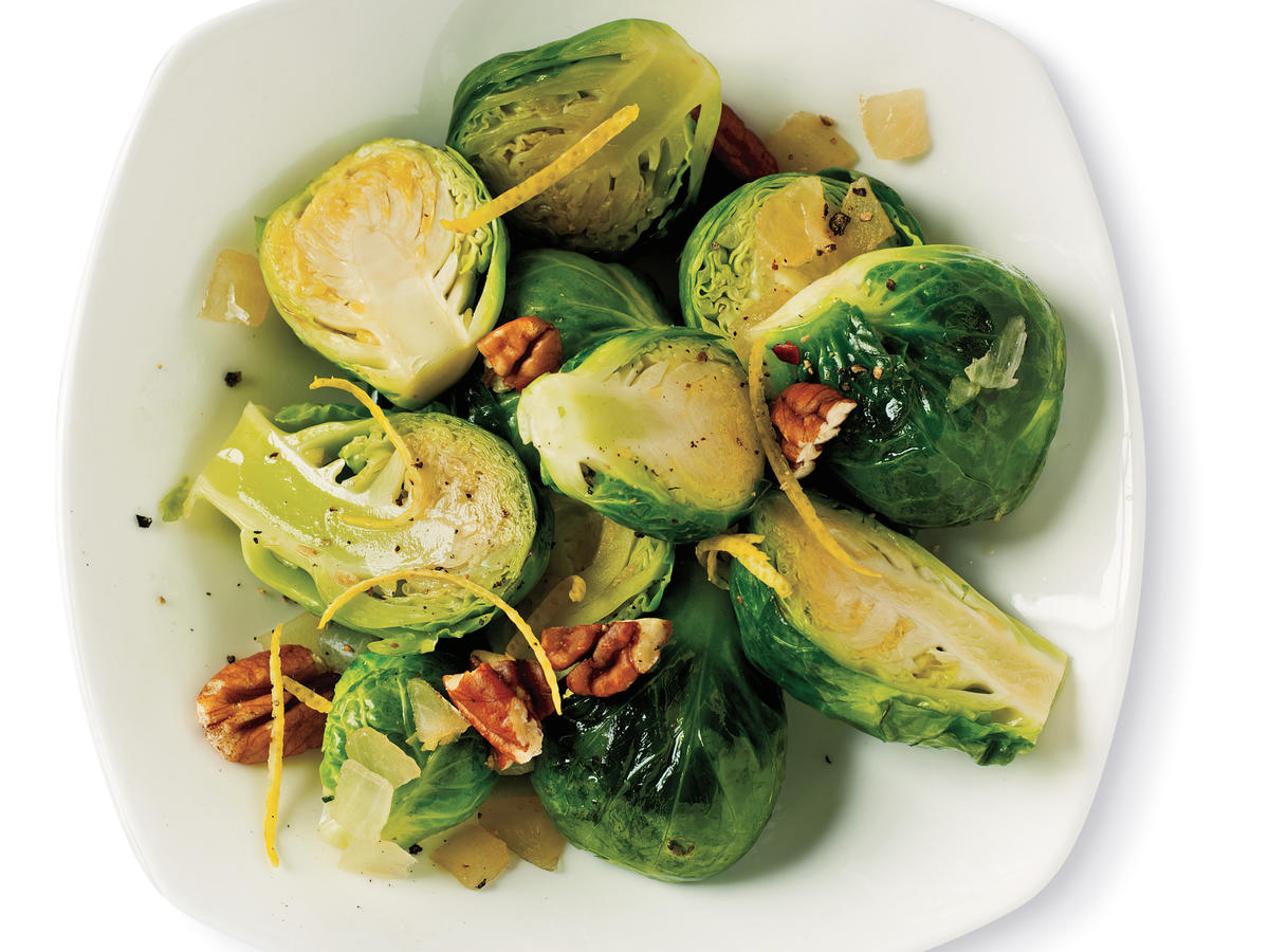 Sautéed Brussels Sprouts with Lemon and Pecan