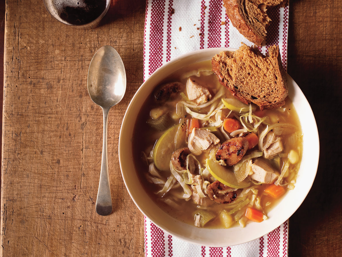 Chicken Soup with Cabbage and Apple Recipe