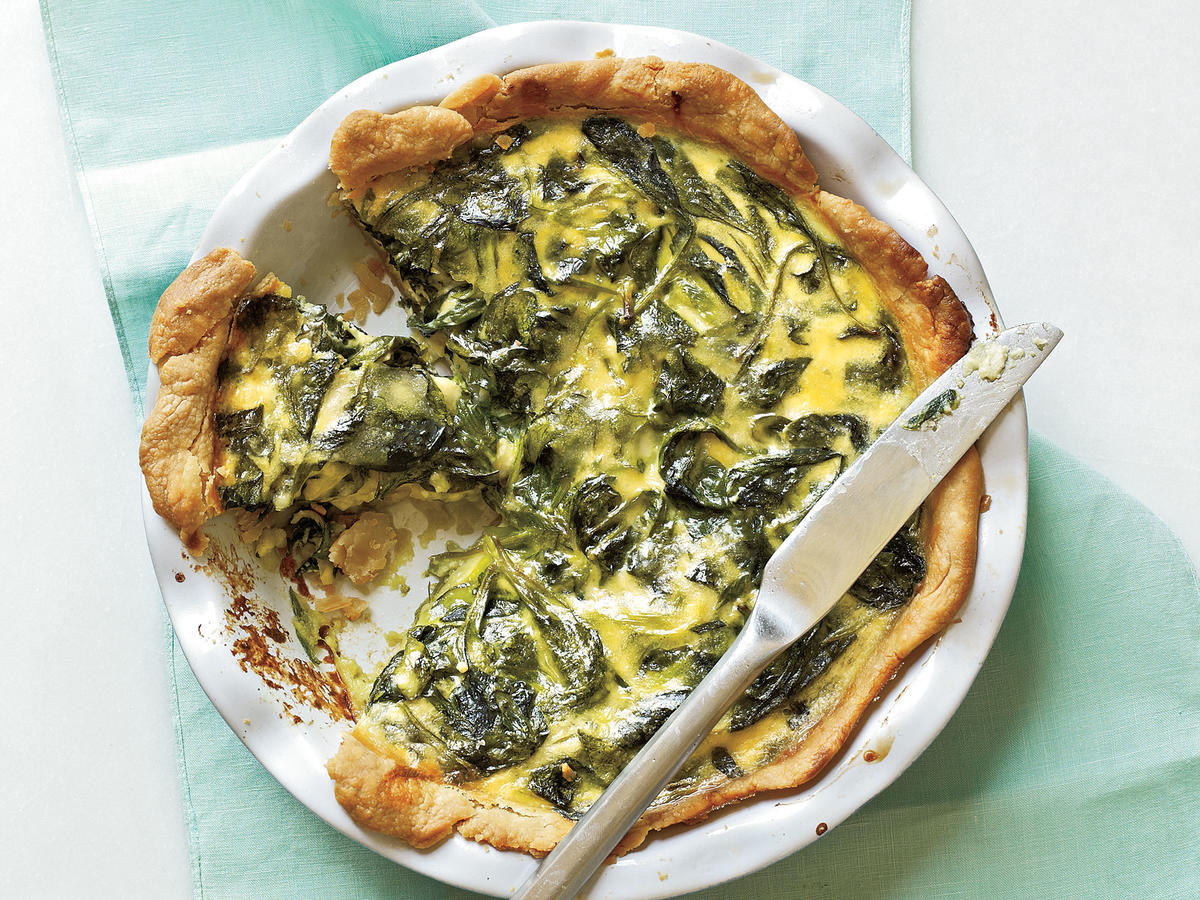 Spinach, Green Onion, and Smoked Gouda Quiche