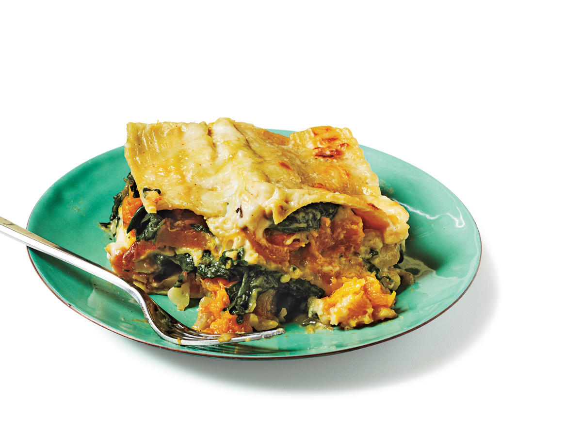 Butternut Squash, Carmelized Onion, and Spinach Lasagna Recipe
