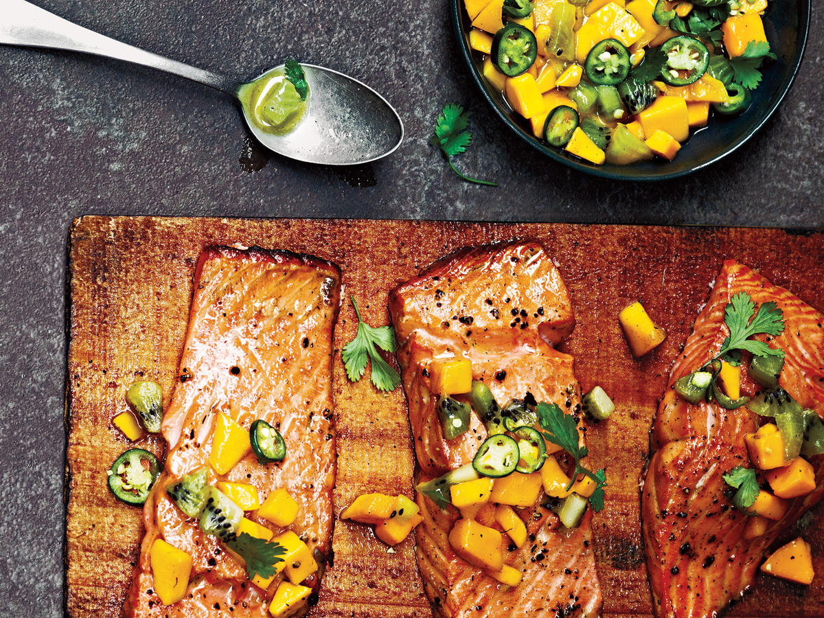 Cedar Plank-Grilled Salmon With Mango Kiwi Salsa