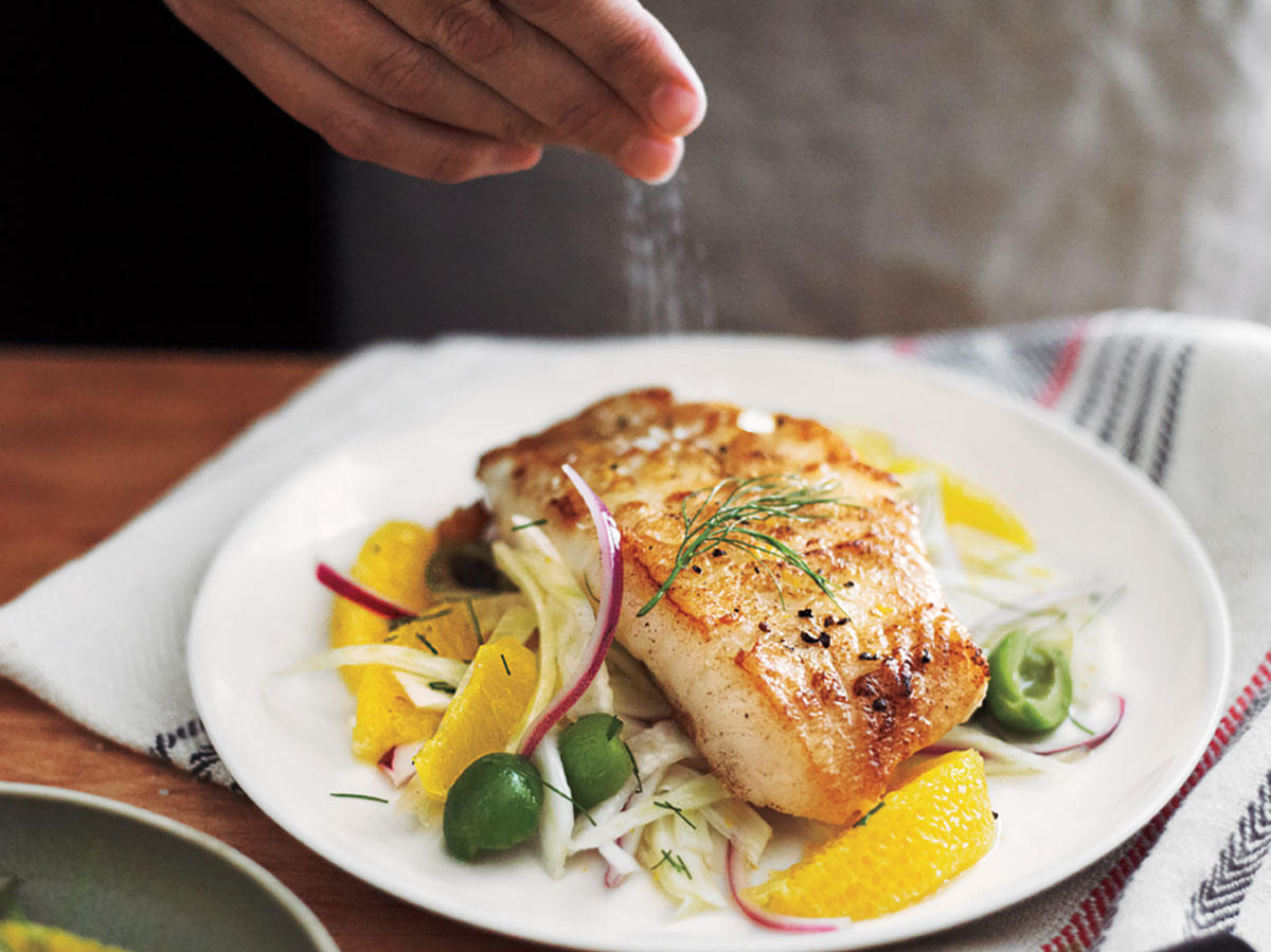 White Sea Bass With Orange-Fennel Relish