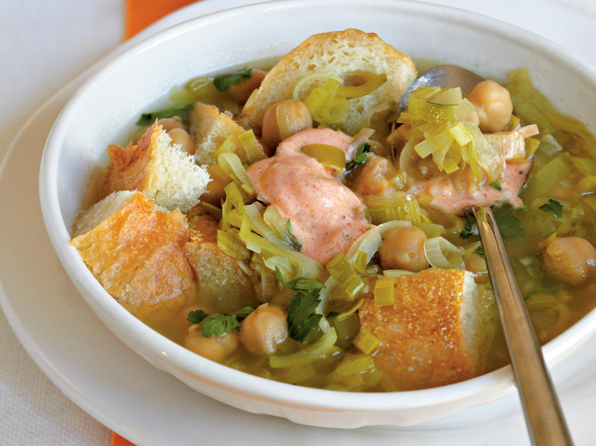 Chickpea, Bread, and Leek Soup With Harissa and Yogurt