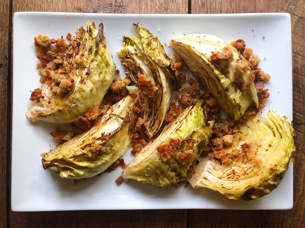 Roasted Cabbage Wedges With Blue Cheese Breadcrumbs