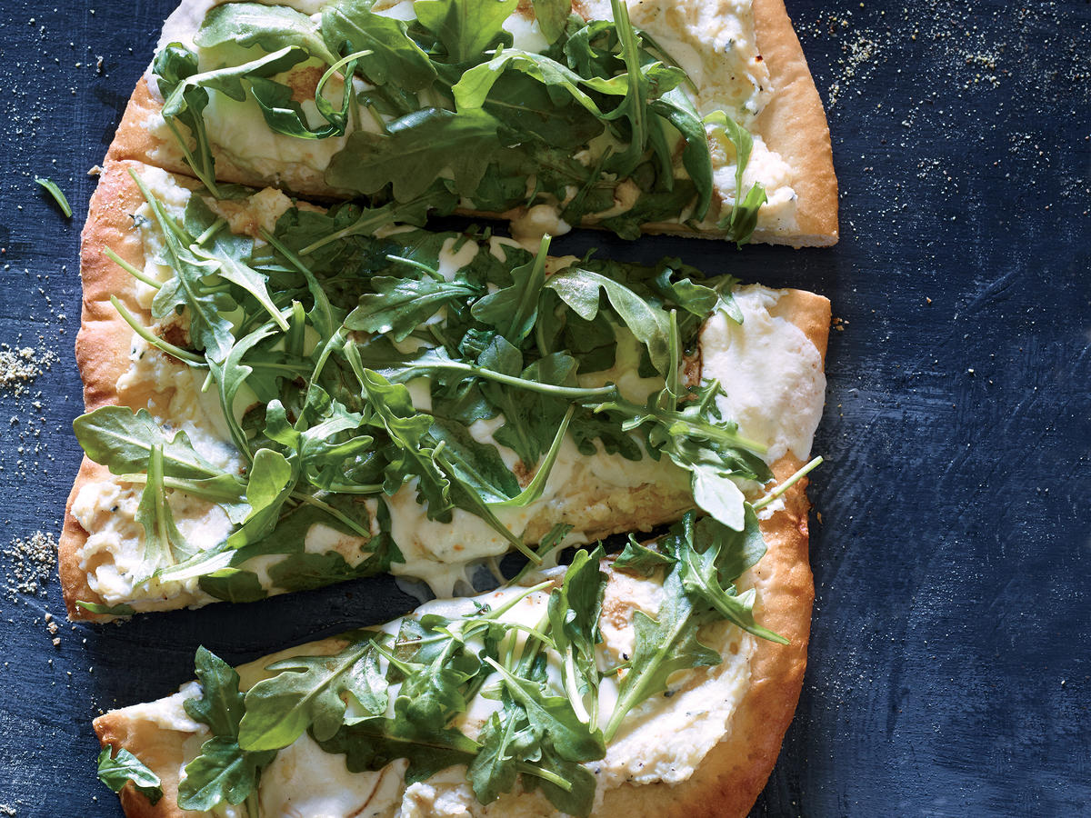 Three Cheese White Pizza with Fresh Arugula